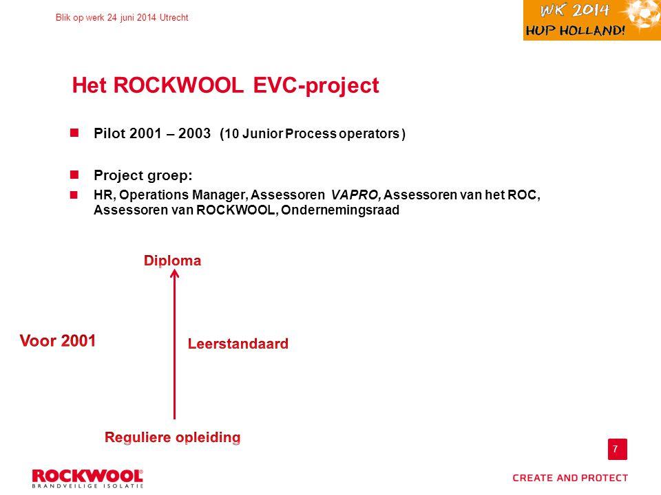 7 Blik op werk 24 juni 2014 Utrecht Het ROCKWOOL EVC-project Pilot 2001 – 2003 ( 10 Junior Process operators ) Project groep: HR, Operations Manager, Assessoren VAPRO, Assessoren van het ROC, Assessoren van ROCKWOOL, Ondernemingsraad