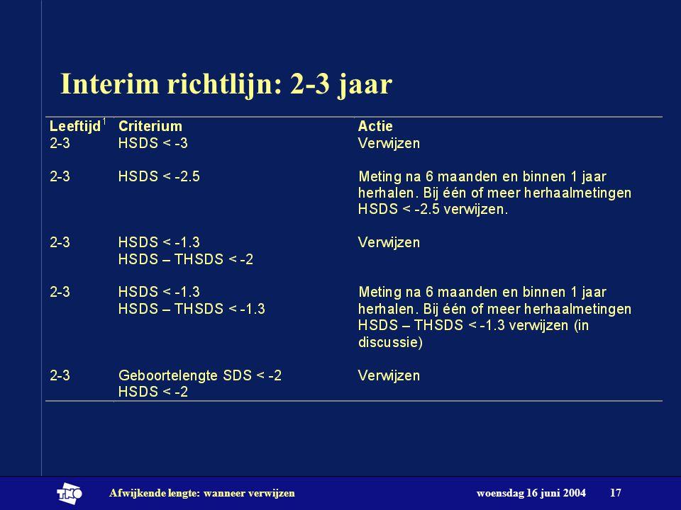 woensdag 16 juni 2004Afwijkende lengte: wanneer verwijzen17 Interim richtlijn: 2-3 jaar