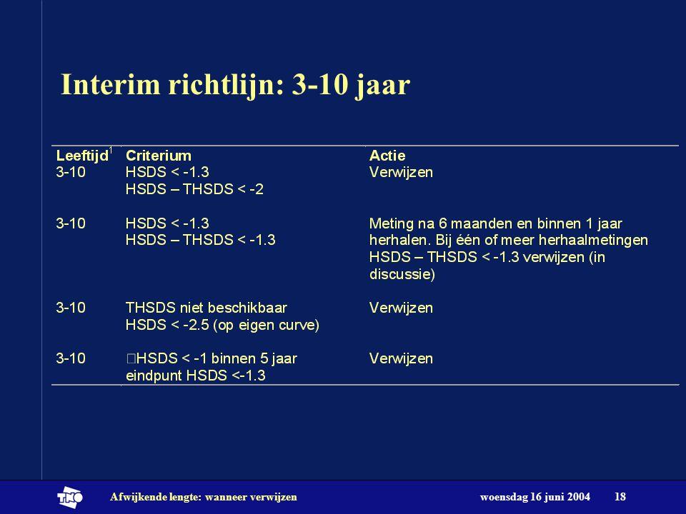 woensdag 16 juni 2004Afwijkende lengte: wanneer verwijzen18 Interim richtlijn: 3-10 jaar
