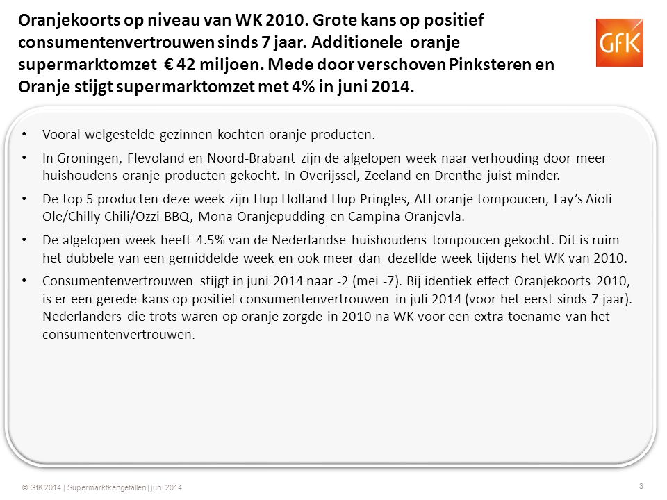 3 © GfK 2014 | Supermarktkengetallen | juni 2014 Oranjekoorts op niveau van WK 2010. Grote kans op positief consumentenvertrouwen sinds 7 jaar. Additi