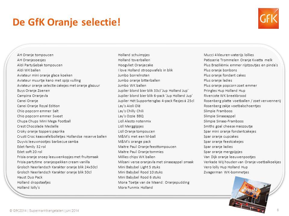 6 © GfK 2014 | Supermarktkengetallen | juni 2014 De GfK Oranje selectie! AH Oranje tompoucen AH Oranjesoesjes Aldi PartyGebak tompoucen Aldi WK ballen
