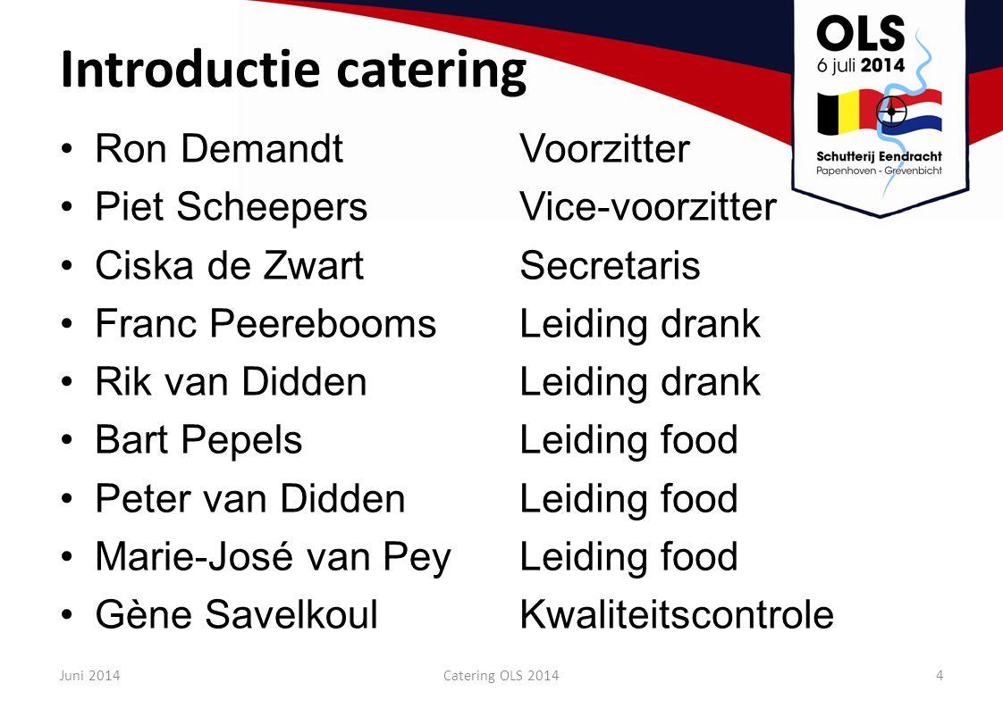Wat aantallen 10.000 hamburgers 26.000 frikandellen 6.500 kroketten 6.500 bamischijven 5.000 slaatjes 7.000 bierknekkers 3.600 kg friet 10.000 ijsjes 70.000 broodjes 500 hectoliter bier (1000 vaten, 220.000 lekkere pilsjes) 25.000 flessen fris (140.000 glaasjes fris) 22.000 bekers koffie Circa 500 lunchpakketten Circa 2000 vrijwilligers Juni 20145Catering OLS 2014