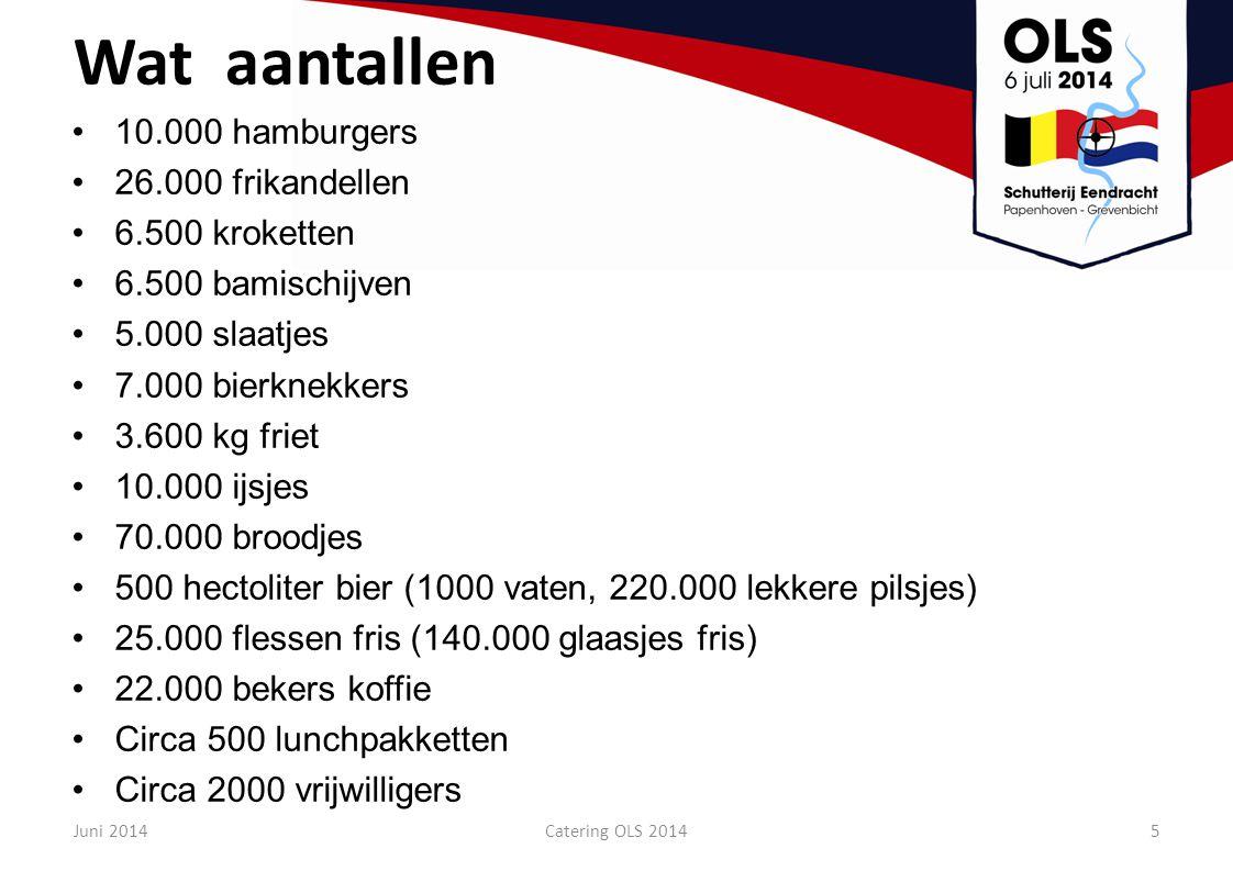 Wat aantallen 10.000 hamburgers 26.000 frikandellen 6.500 kroketten 6.500 bamischijven 5.000 slaatjes 7.000 bierknekkers 3.600 kg friet 10.000 ijsjes