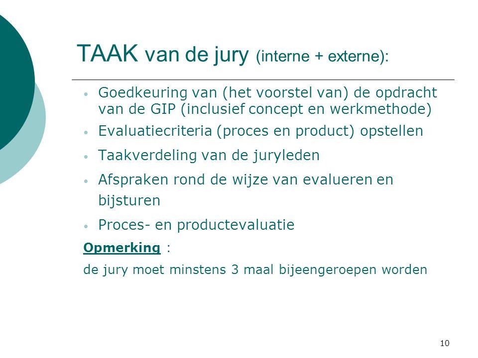 10 TAAK van de jury (interne + externe): Goedkeuring van (het voorstel van) de opdracht van de GIP (inclusief concept en werkmethode) Evaluatiecriteria (proces en product) opstellen Taakverdeling van de juryleden Afspraken rond de wijze van evalueren en bijsturen Proces- en productevaluatie Opmerking : de jury moet minstens 3 maal bijeengeroepen worden