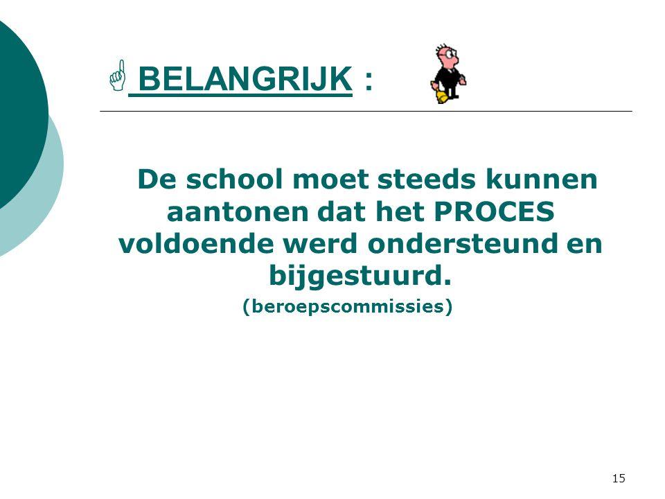 15  BELANGRIJK : De school moet steeds kunnen aantonen dat het PROCES voldoende werd ondersteund en bijgestuurd.