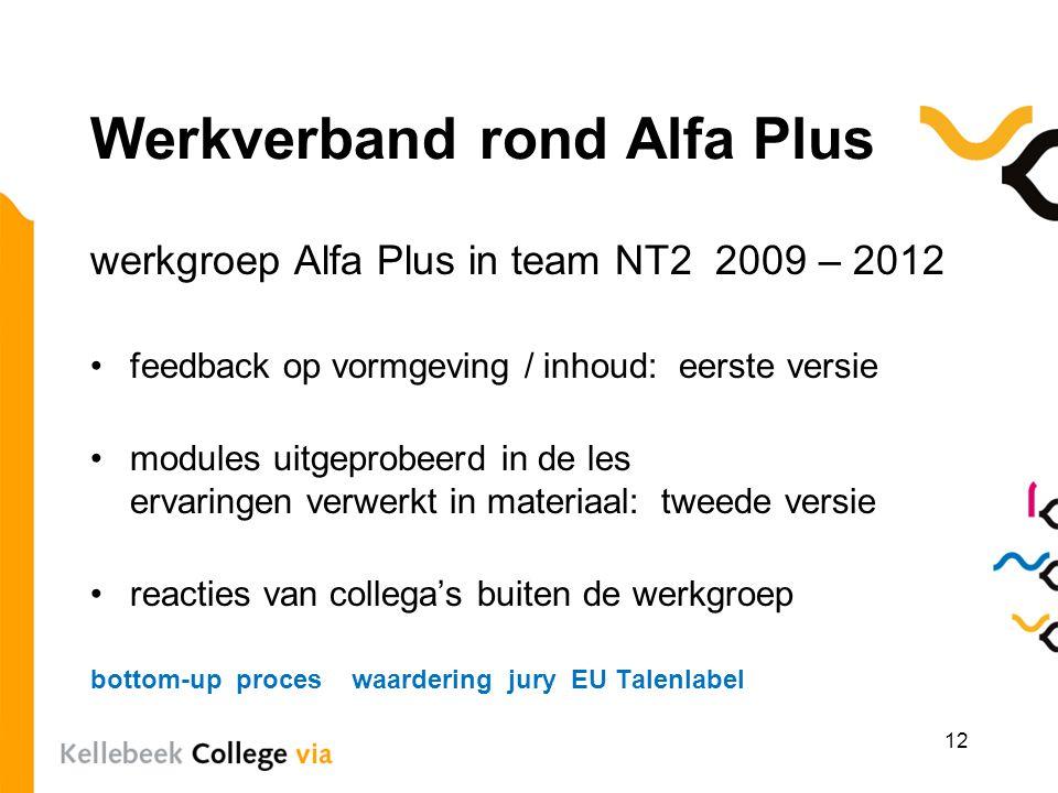 Werkverband rond Alfa Plus werkgroep Alfa Plus in team NT2 2009 – 2012 feedback op vormgeving / inhoud: eerste versie modules uitgeprobeerd in de les
