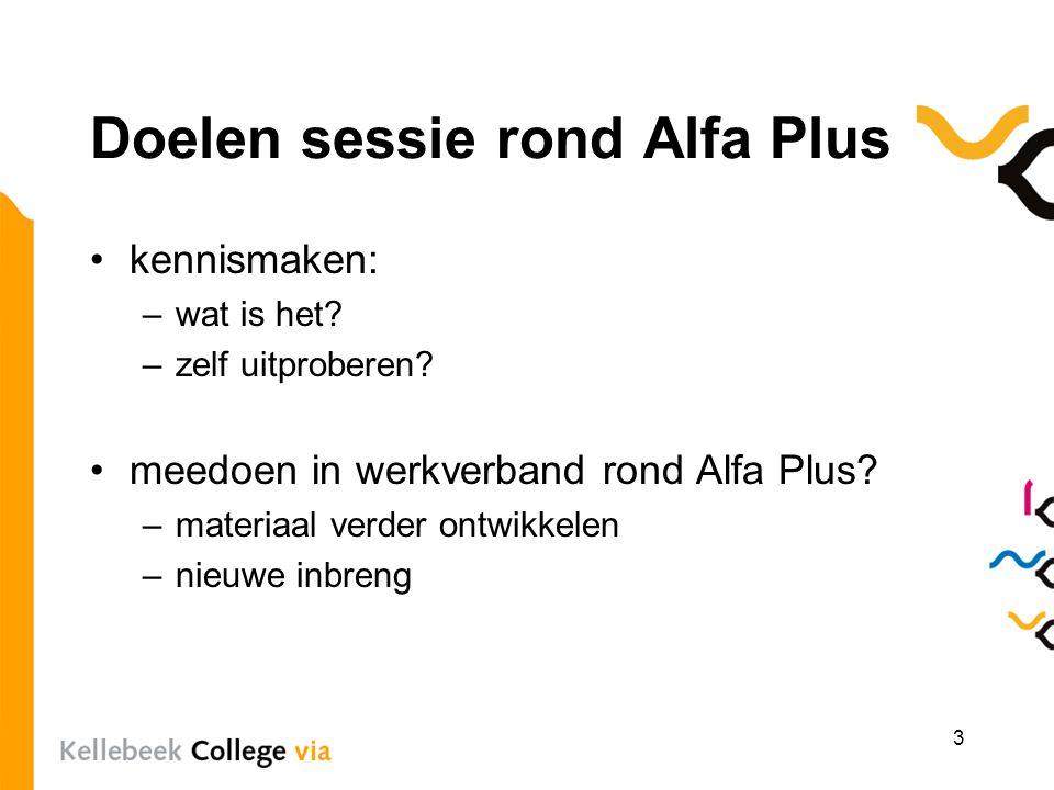 Doelen sessie rond Alfa Plus kennismaken: –wat is het? –zelf uitproberen? meedoen in werkverband rond Alfa Plus? –materiaal verder ontwikkelen –nieuwe