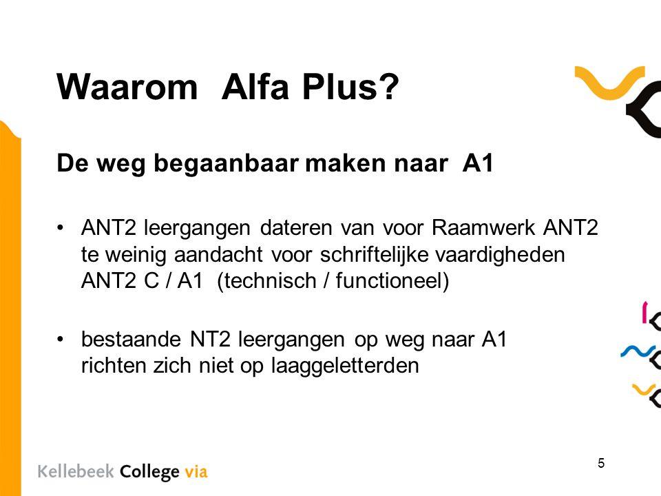 Waarom Alfa Plus? De weg begaanbaar maken naar A1 ANT2 leergangen dateren van voor Raamwerk ANT2 te weinig aandacht voor schriftelijke vaardigheden AN