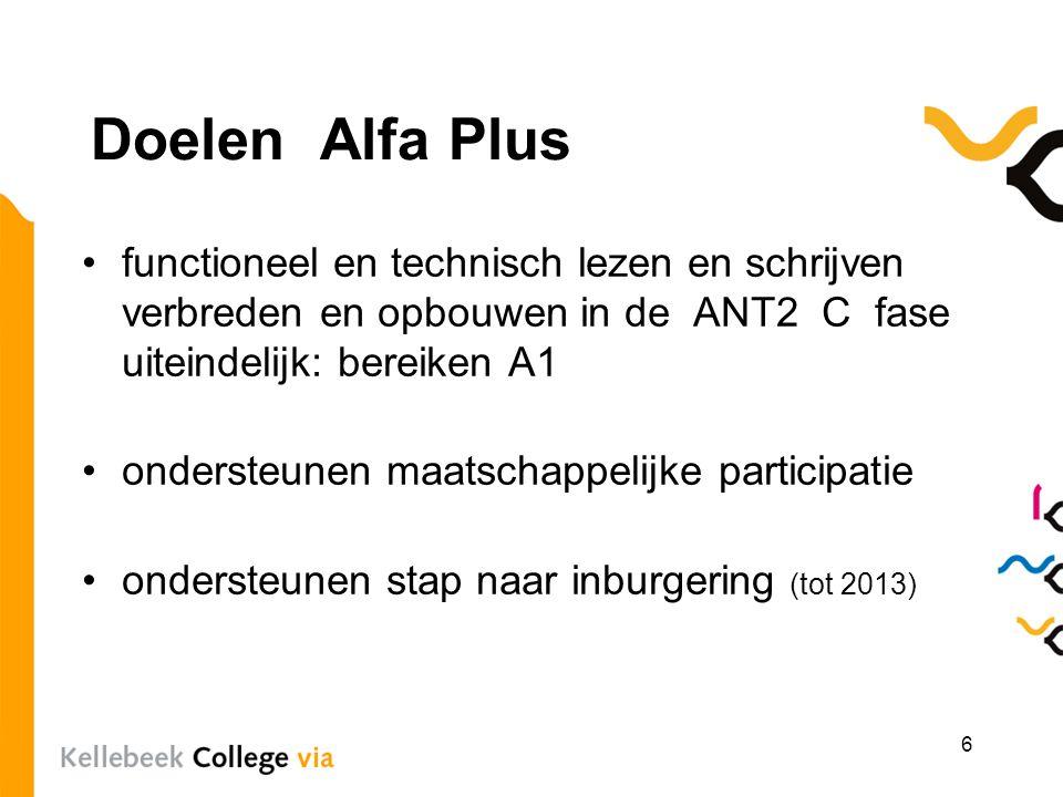 Doelen Alfa Plus functioneel en technisch lezen en schrijven verbreden en opbouwen in de ANT2 C fase uiteindelijk: bereiken A1 ondersteunen maatschapp