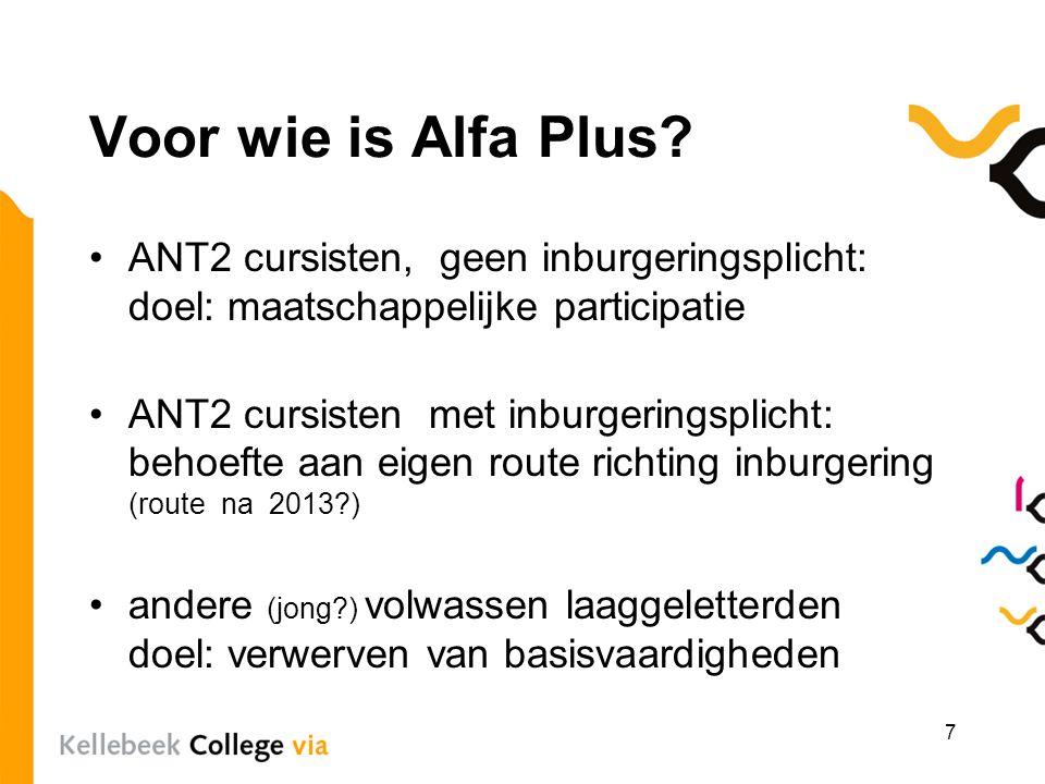 Voor wie is Alfa Plus? ANT2 cursisten, geen inburgeringsplicht: doel: maatschappelijke participatie ANT2 cursisten met inburgeringsplicht: behoefte aa