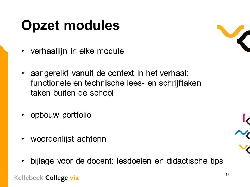 Opzet modules verhaallijn in elke module aangereikt vanuit de context in het verhaal: functionele en technische lees- en schrijftaken taken buiten de