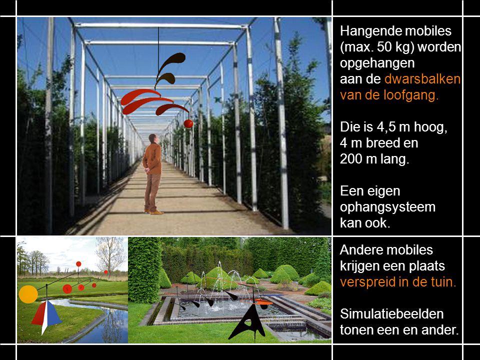 Hangende mobiles (max.50 kg) worden opgehangen aan de dwarsbalken van de loofgang.