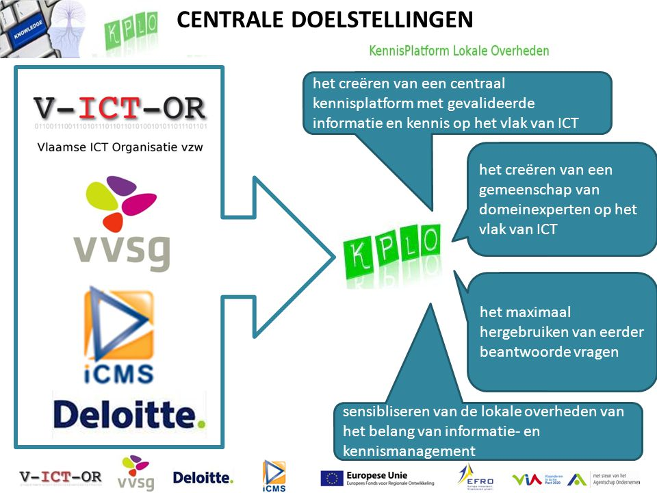 het creëren van een centraal kennisplatform met gevalideerde informatie en kennis op het vlak van ICT het creëren van een gemeenschap van domeinexperten op het vlak van ICT het maximaal hergebruiken van eerder beantwoorde vragen sensibliseren van de lokale overheden van het belang van informatie- en kennismanagement CENTRALE DOELSTELLINGEN