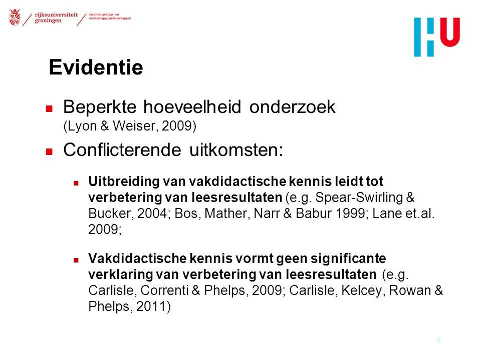 Evidentie n Beperkte hoeveelheid onderzoek (Lyon & Weiser, 2009) n Conflicterende uitkomsten: n Uitbreiding van vakdidactische kennis leidt tot verbetering van leesresultaten (e.g.