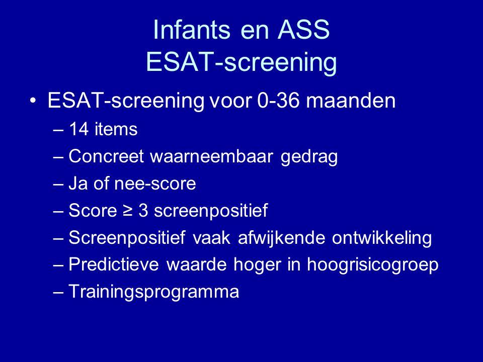 Infants en ASS ESAT-screening ESAT-screening voor 0-36 maanden –14 items –Concreet waarneembaar gedrag –Ja of nee-score –Score ≥ 3 screenpositief –Scr
