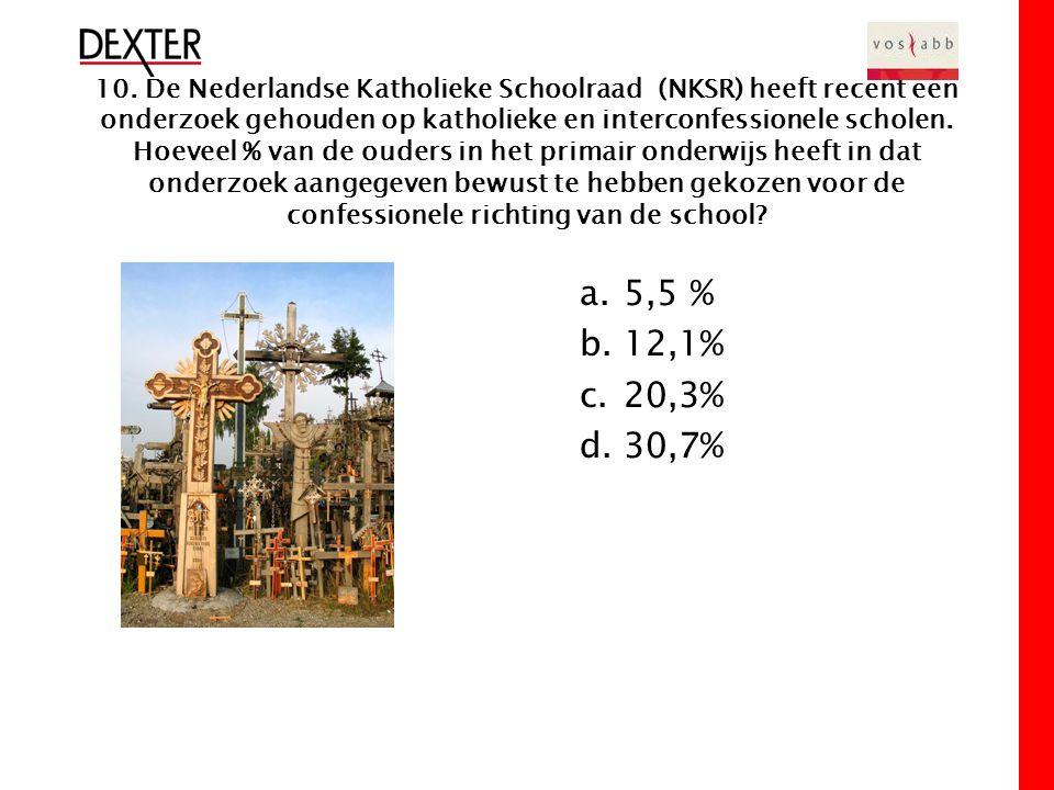 10. De Nederlandse Katholieke Schoolraad (NKSR) heeft recent een onderzoek gehouden op katholieke en interconfessionele scholen. Hoeveel % van de oude