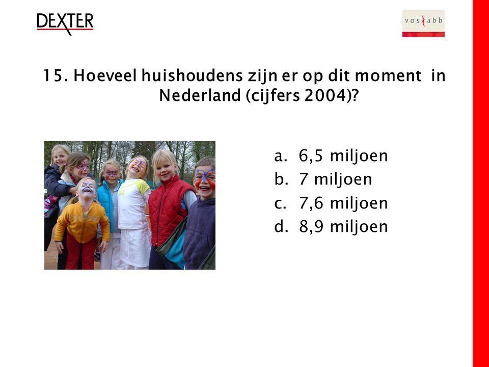 15. Hoeveel huishoudens zijn er op dit moment in Nederland (cijfers 2004).