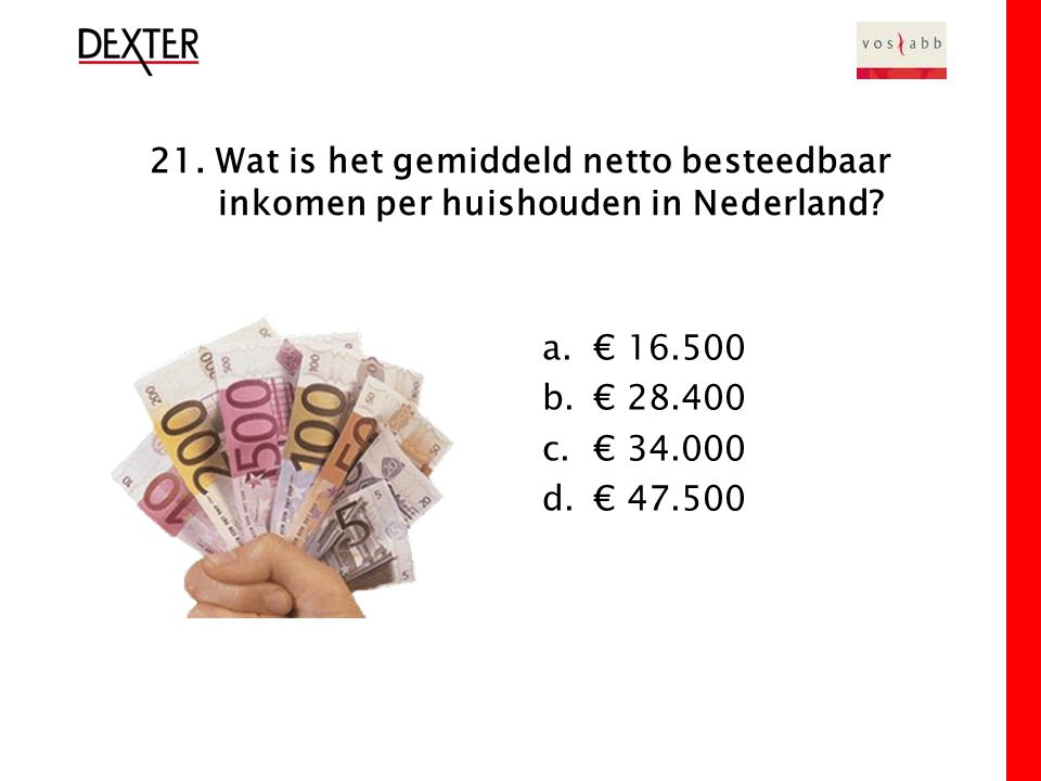 21. Wat is het gemiddeld netto besteedbaar inkomen per huishouden in Nederland.