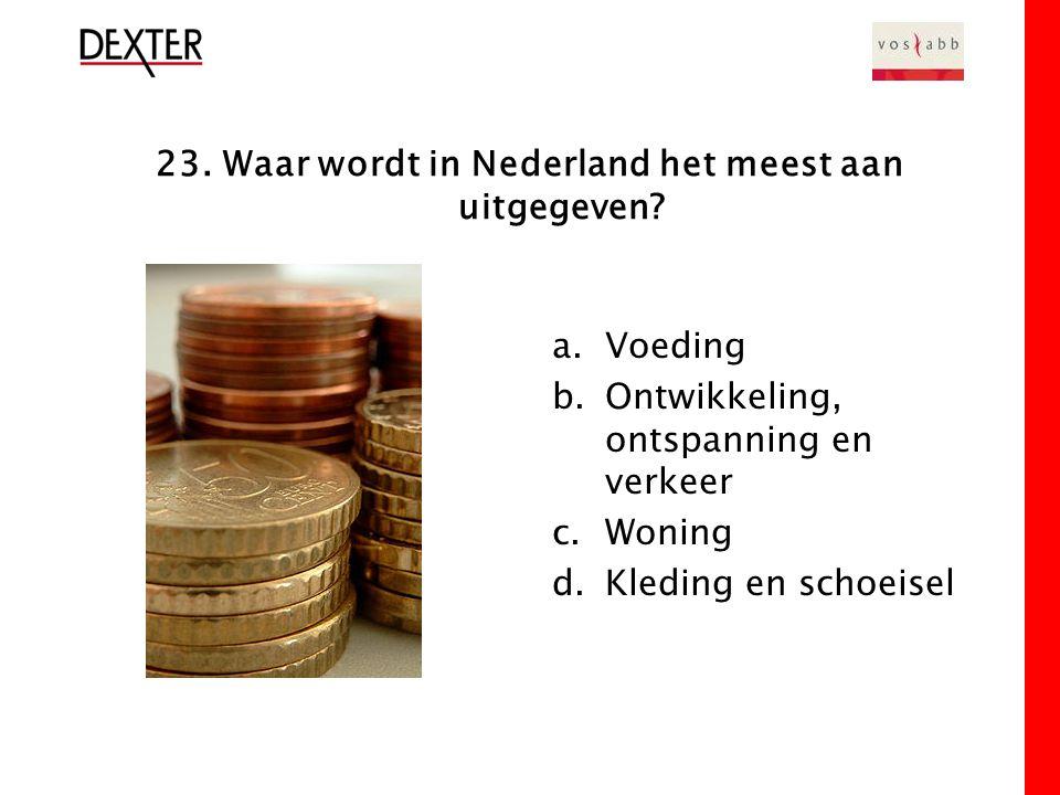 23. Waar wordt in Nederland het meest aan uitgegeven.
