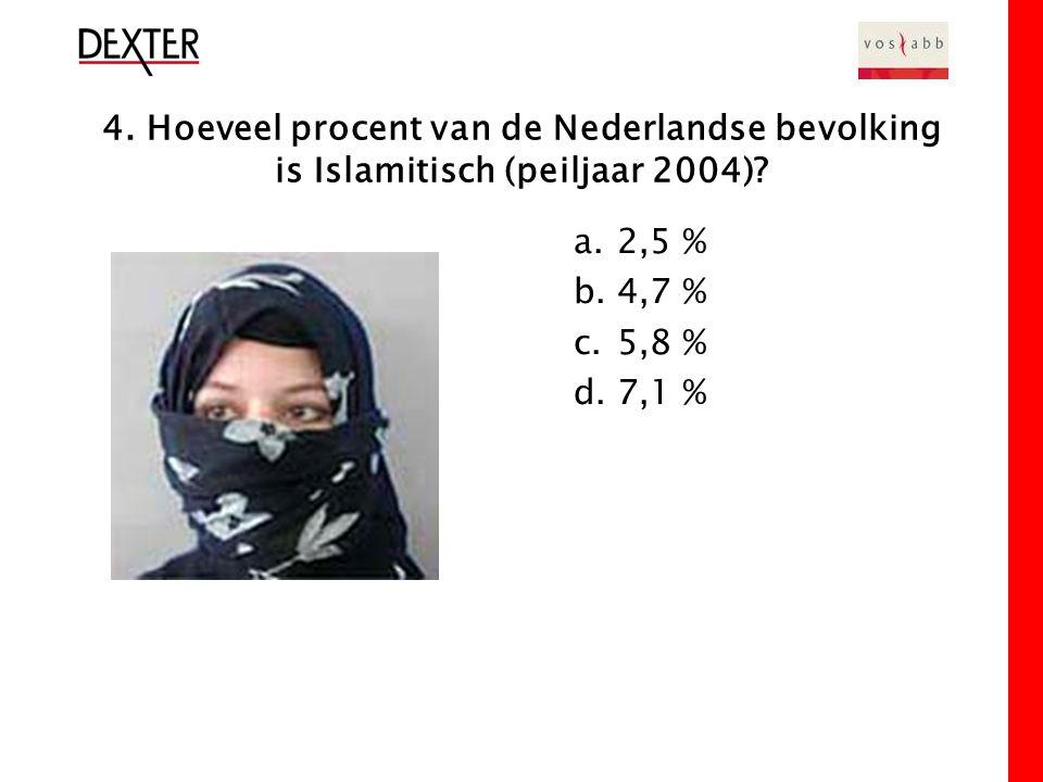 4. Hoeveel procent van de Nederlandse bevolking is Islamitisch (peiljaar 2004).