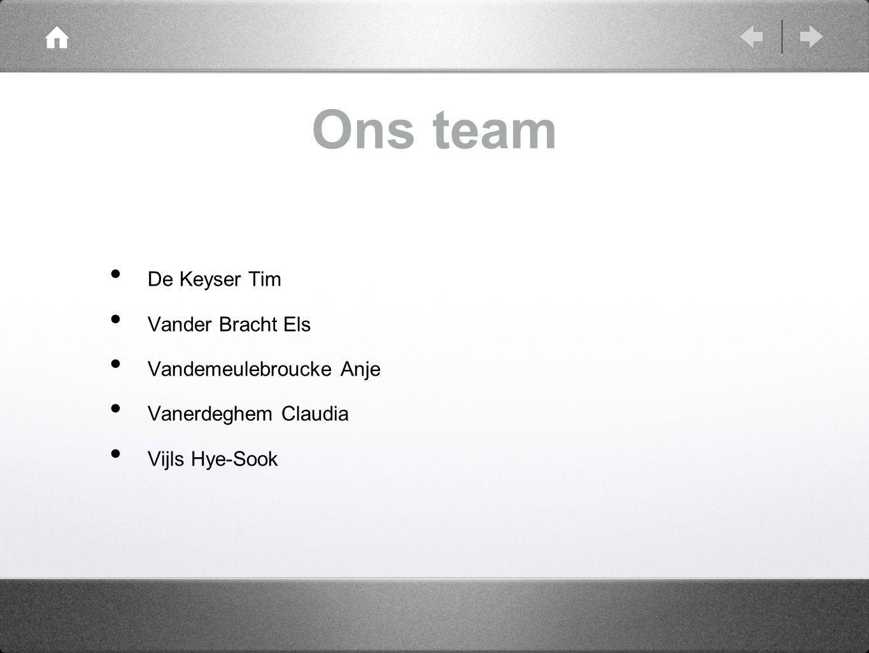 Ons team De Keyser Tim Vander Bracht Els Vandemeulebroucke Anje Vanerdeghem Claudia Vijls Hye-Sook