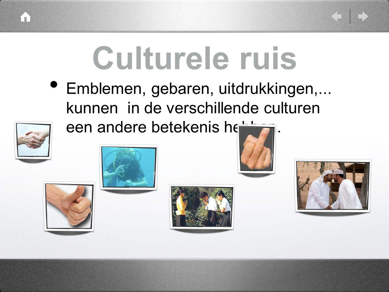Culturele ruis Emblemen, gebaren, uitdrukkingen,... kunnen in de verschillende culturen een andere betekenis hebben.