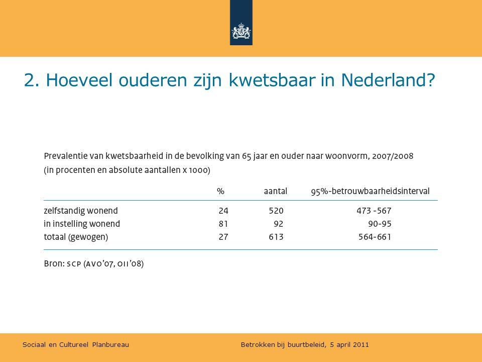 Sociaal en Cultureel Planbureau 2. Hoeveel ouderen zijn kwetsbaar in Nederland? Betrokken bij buurtbeleid, 5 april 2011