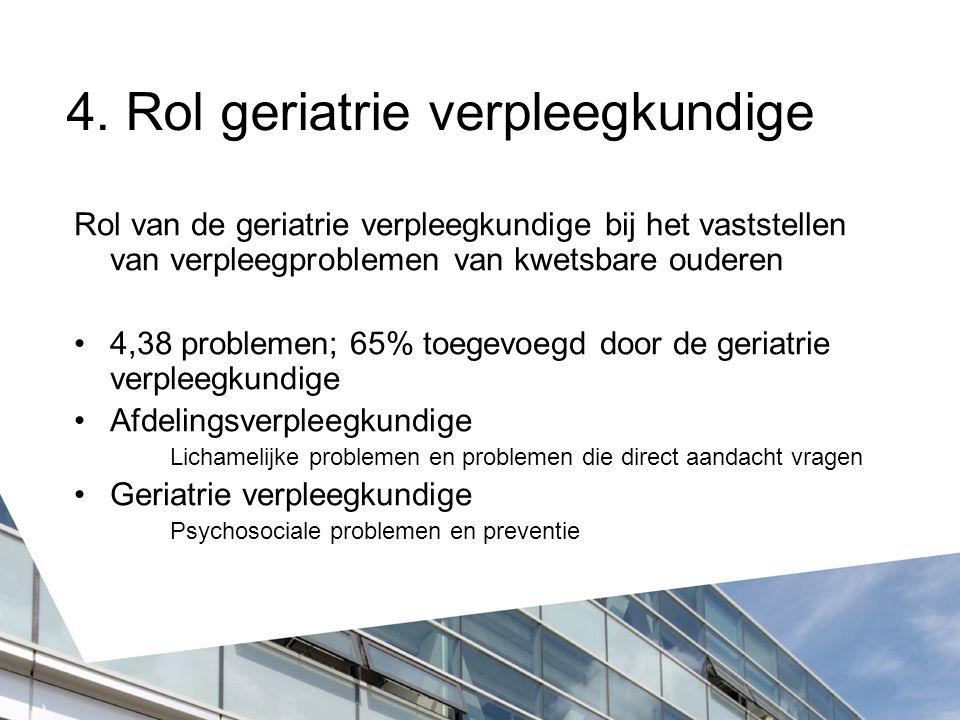 4. Rol geriatrie verpleegkundige Rol van de geriatrie verpleegkundige bij het vaststellen van verpleegproblemen van kwetsbare ouderen 4,38 problemen;