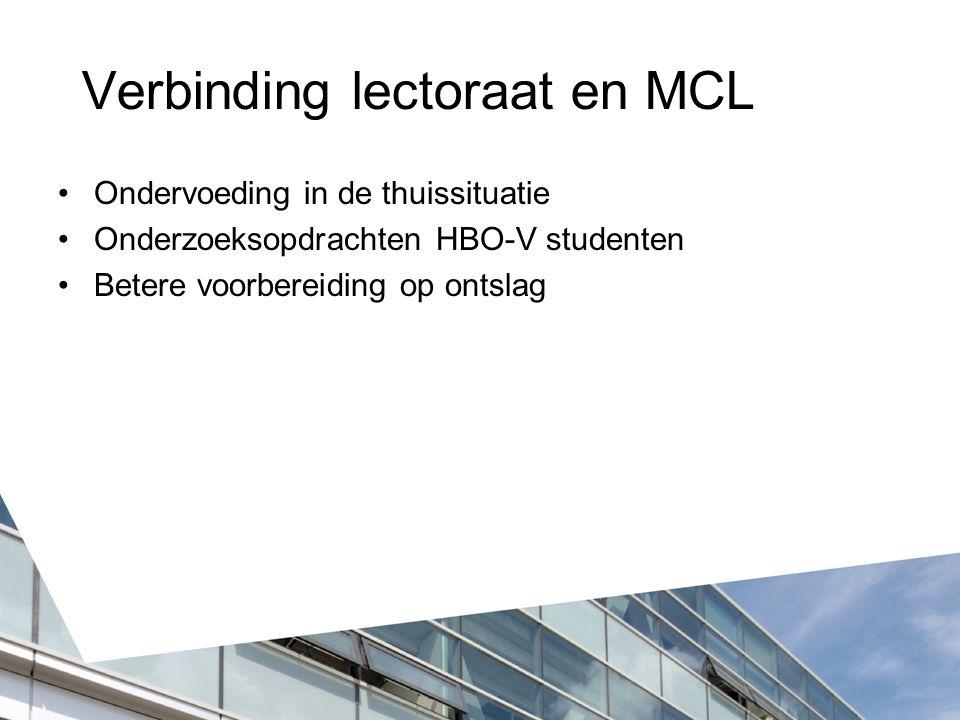 Verbinding lectoraat en MCL Ondervoeding in de thuissituatie Onderzoeksopdrachten HBO-V studenten Betere voorbereiding op ontslag