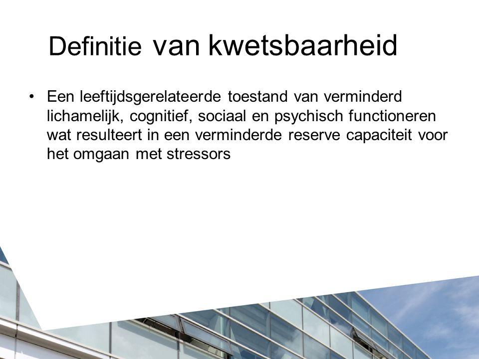 Groningen frailty indicator (GFI) 15 vragen: Fysiek functioneren Boodschappen doen, rond lopen, aan/uitkleden, toiletbezoek, fitheid Gezondheid Medicatiegebruik, gehoor- en gezichtsbeperking, cognitie, voedingstoestand Psychosociaal Leegte voelen, mensen missen, somber, angstig, nerveus
