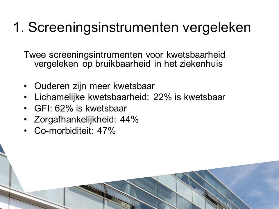1. Screeningsinstrumenten vergeleken Twee screeningsintrumenten voor kwetsbaarheid vergeleken op bruikbaarheid in het ziekenhuis Ouderen zijn meer kwe
