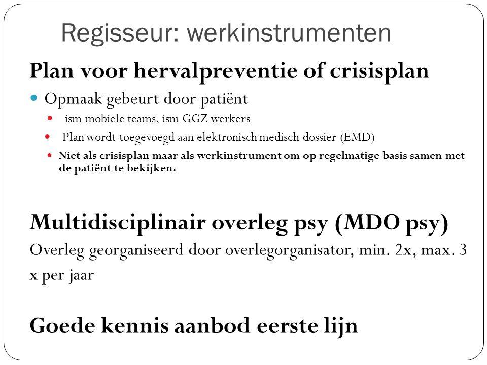 Regisseur: werkinstrumenten Plan voor hervalpreventie of crisisplan Opmaak gebeurt door patiënt ism mobiele teams, ism GGZ werkers Plan wordt toegevoe