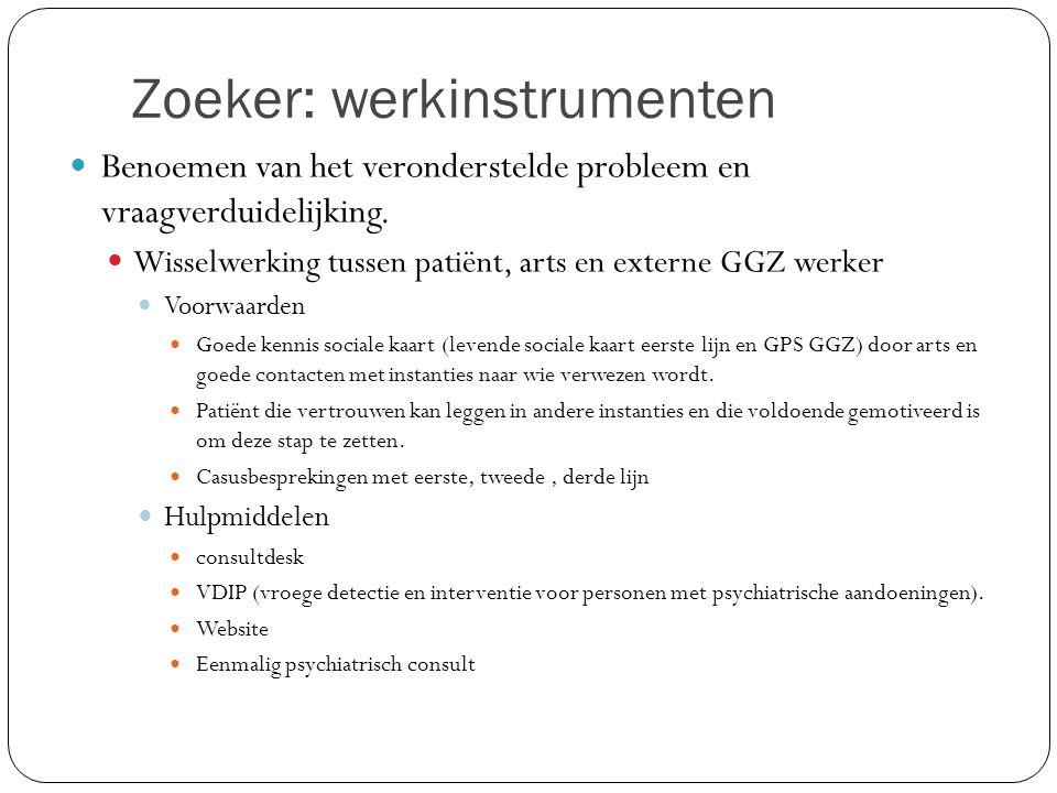 Zoeker: werkinstrumenten Benoemen van het veronderstelde probleem en vraagverduidelijking. Wisselwerking tussen patiënt, arts en externe GGZ werker Vo