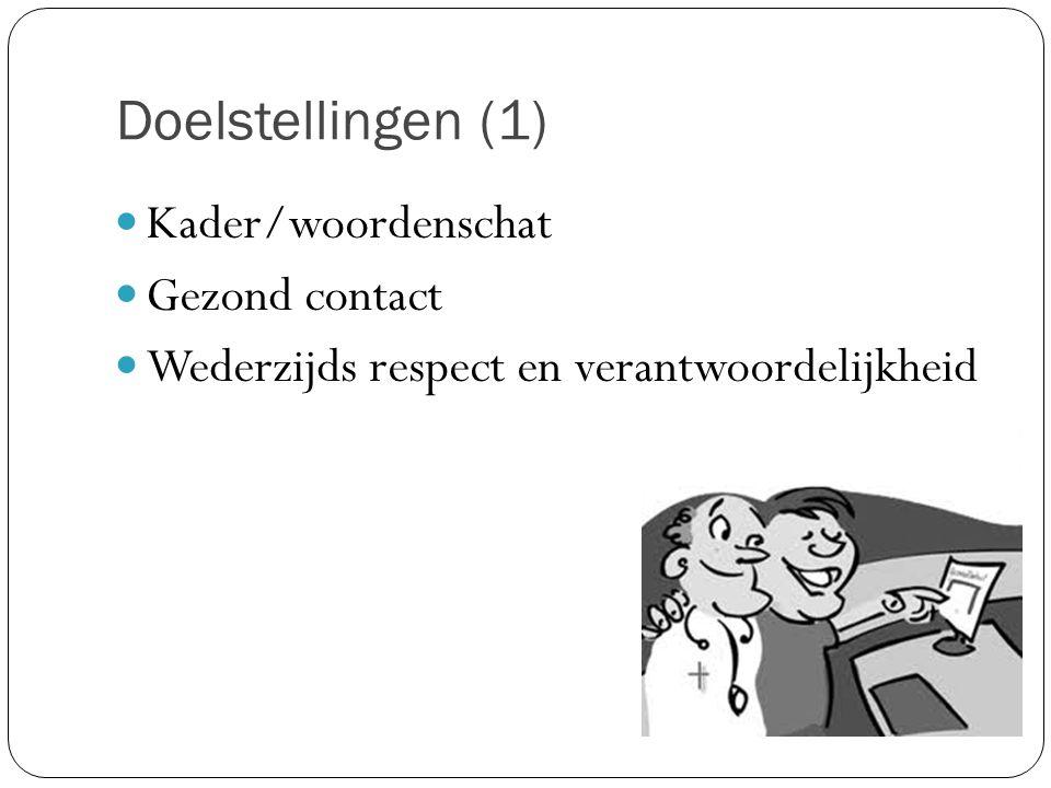 Doelstellingen (1) Kader/woordenschat Gezond contact Wederzijds respect en verantwoordelijkheid
