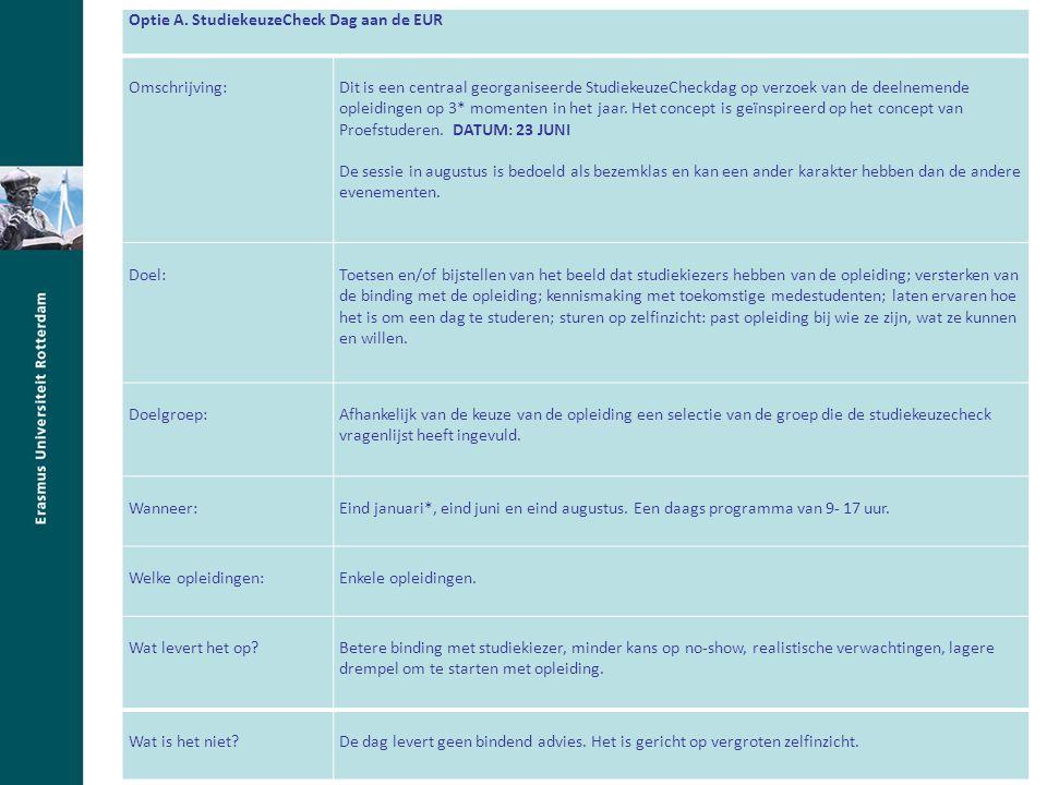 studie(keuze)bijsluiter verplicht studiekeuzeadvies door HO vervroeging aanmeldingsdatum afschaffing (verplichte) loting uitbreiding selectiemogelijkheden collegegelddifferentiatie verhoging BSA ('Nominaal = Normaal') veranderde doorstroomeisen Optie A.