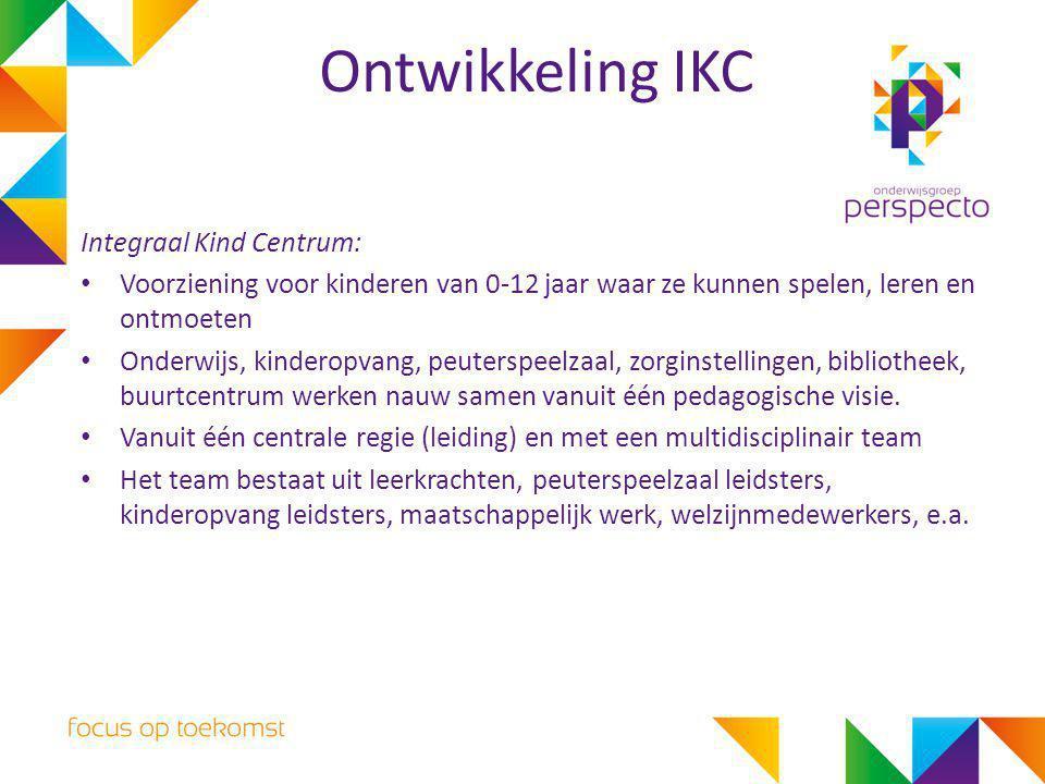 Ontwikkeling IKC Integraal Kind Centrum: Voorziening voor kinderen van 0-12 jaar waar ze kunnen spelen, leren en ontmoeten Onderwijs, kinderopvang, pe