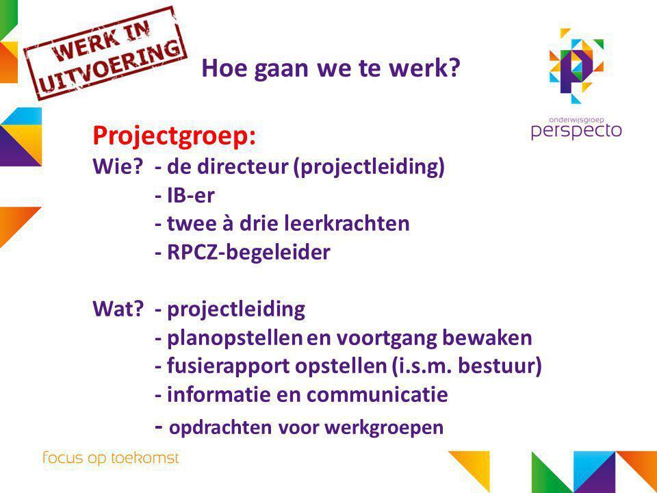 Hoe gaan we te werk? Projectgroep: Wie?- de directeur (projectleiding) - IB-er - twee à drie leerkrachten - RPCZ-begeleider Wat?- projectleiding - pla