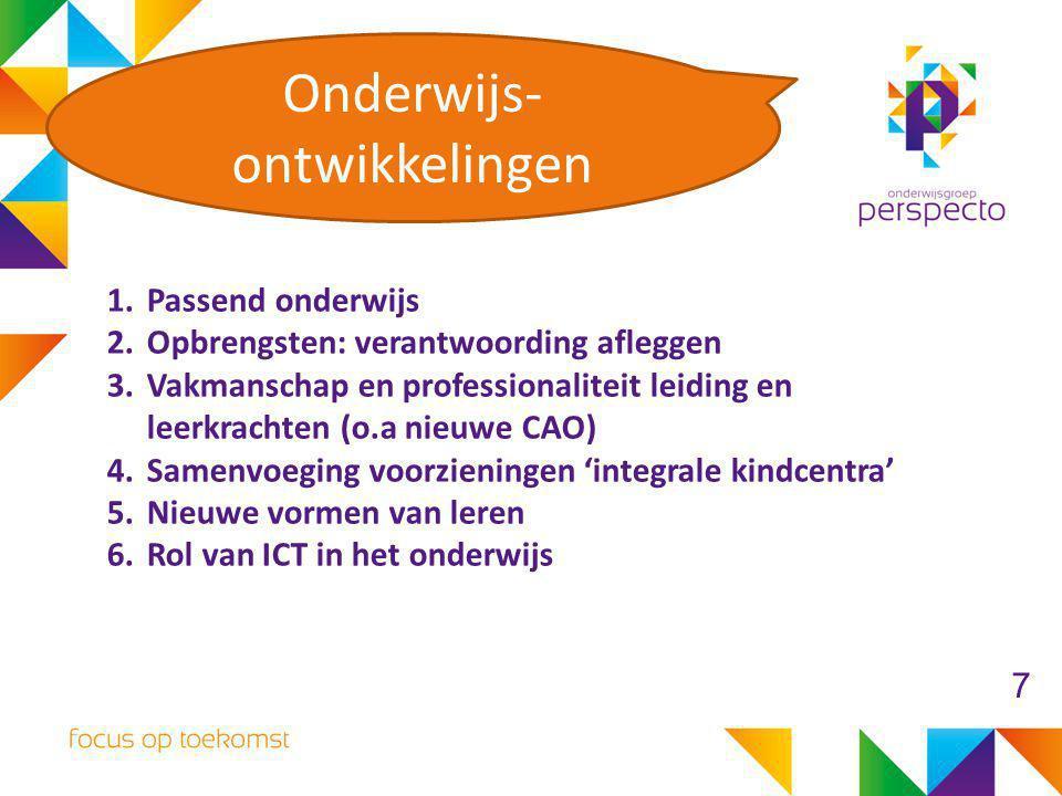 1.Passend onderwijs 2.Opbrengsten: verantwoording afleggen 3.Vakmanschap en professionaliteit leiding en leerkrachten (o.a nieuwe CAO) 4.Samenvoeging