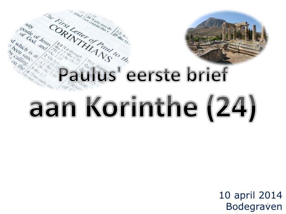 2 Terugblik en overzicht (I) 1Korinthe 12 t/m 14: de geestelijke uitingen (12:1) spreken in tongen/talen: de laagste in rangorde (12:30) hfst.