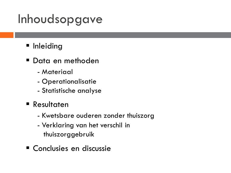 Inhoudsopgave  Inleiding  Data en methoden - Materiaal - Operationalisatie - Statistische analyse  Resultaten - Kwetsbare ouderen zonder thuiszorg