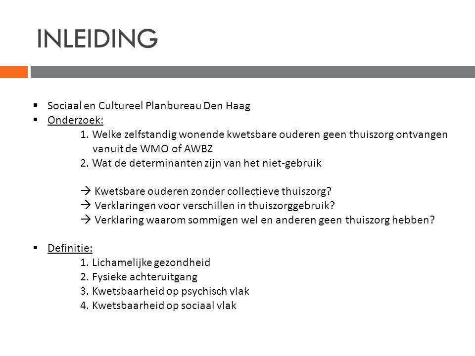 INLEIDING  Sociaal en Cultureel Planbureau Den Haag  Onderzoek: 1. Welke zelfstandig wonende kwetsbare ouderen geen thuiszorg ontvangen vanuit de WM