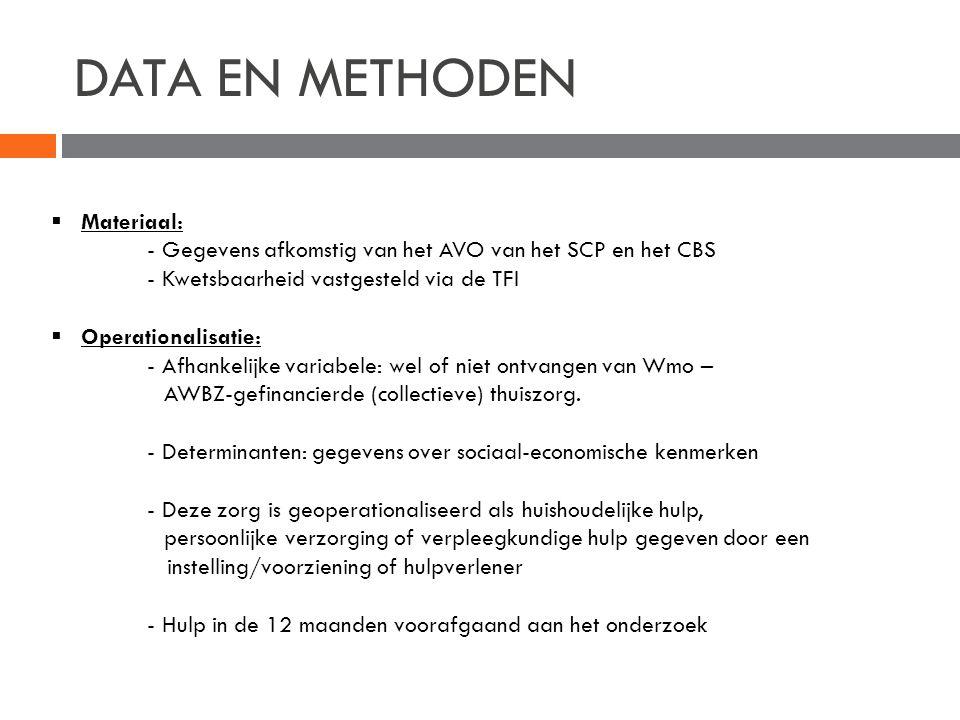 DATA EN METHODEN  Materiaal: - Gegevens afkomstig van het AVO van het SCP en het CBS - Kwetsbaarheid vastgesteld via de TFI  Operationalisatie: - Af