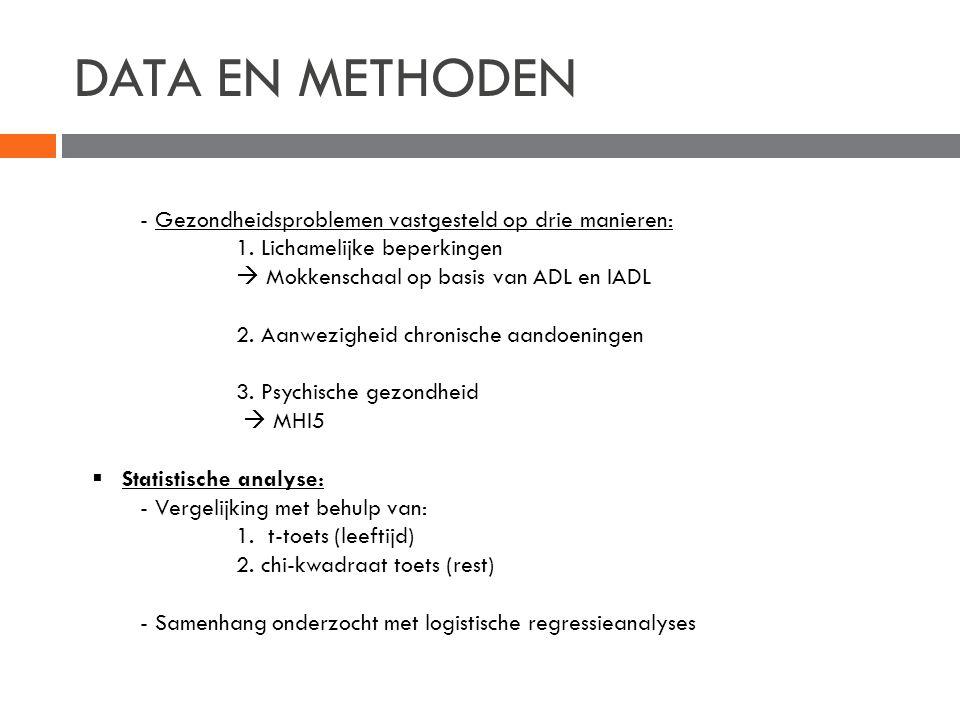 DATA EN METHODEN - Gezondheidsproblemen vastgesteld op drie manieren: 1. Lichamelijke beperkingen  Mokkenschaal op basis van ADL en IADL 2. Aanwezigh