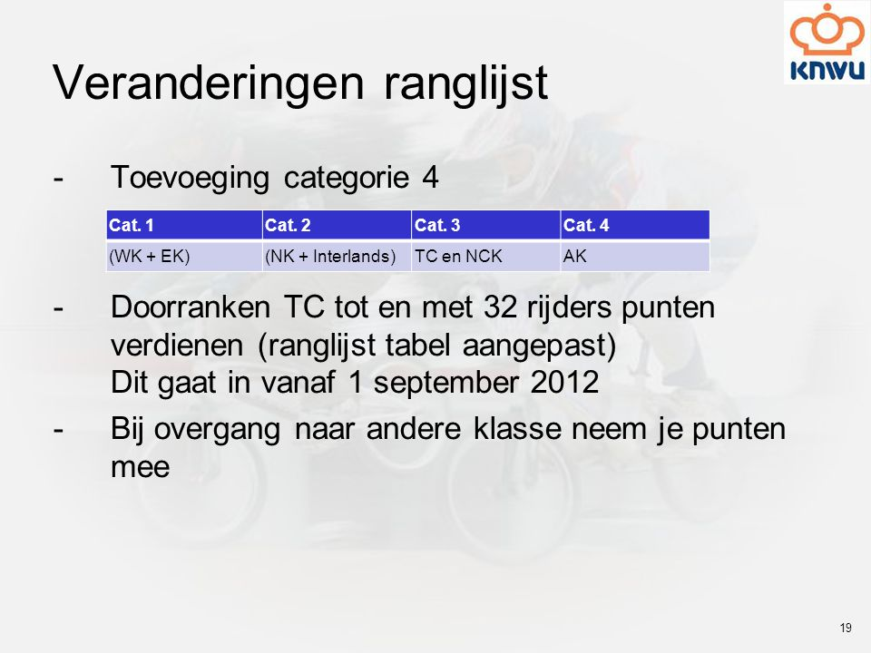 Veranderingen ranglijst -Toevoeging categorie 4 -Doorranken TC tot en met 32 rijders punten verdienen (ranglijst tabel aangepast) Dit gaat in vanaf 1 september 2012 -Bij overgang naar andere klasse neem je punten mee Cat.