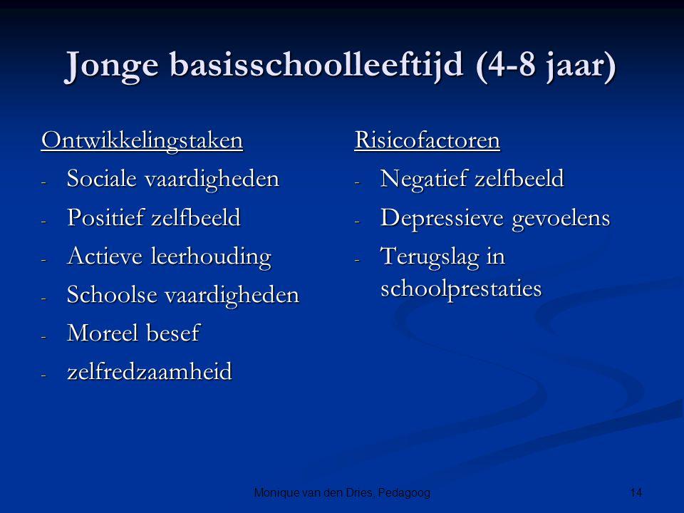 14Monique van den Dries, Pedagoog Jonge basisschoolleeftijd (4-8 jaar) Ontwikkelingstaken - Sociale vaardigheden - Positief zelfbeeld - Actieve leerho