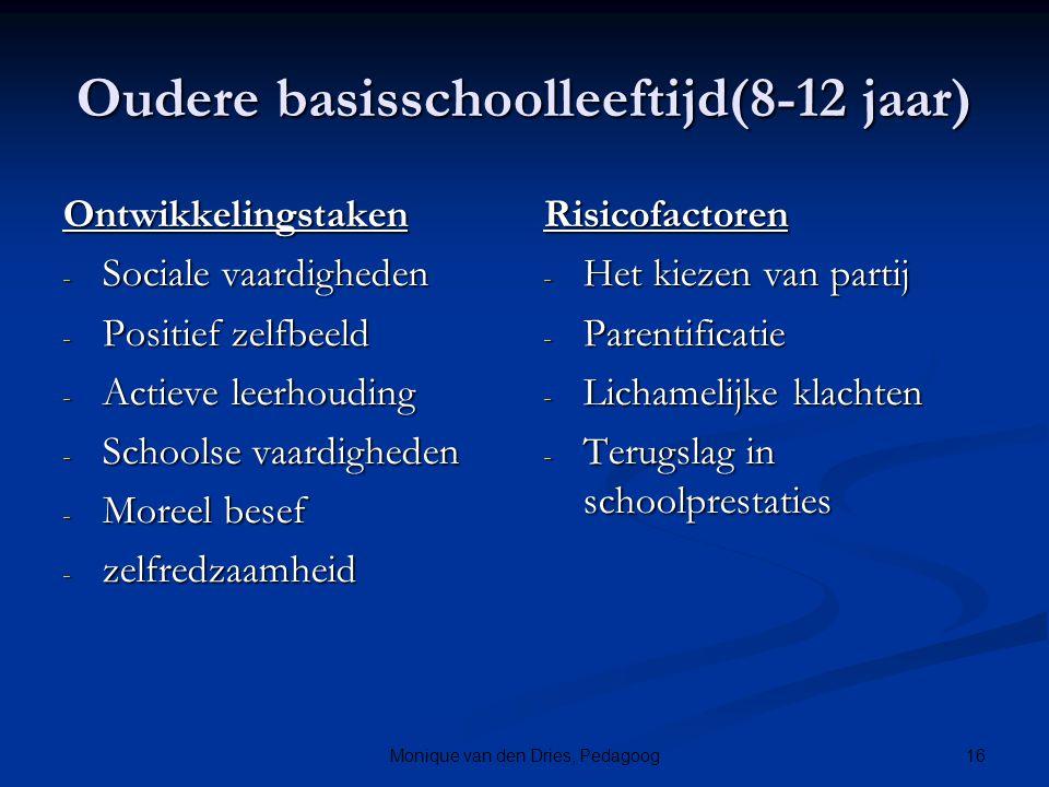 16Monique van den Dries, Pedagoog Oudere basisschoolleeftijd(8-12 jaar) Ontwikkelingstaken - Sociale vaardigheden - Positief zelfbeeld - Actieve leerh
