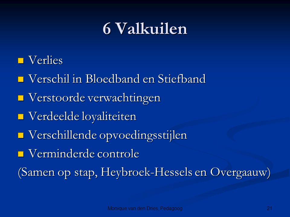 21Monique van den Dries, Pedagoog 6 Valkuilen Verlies Verlies Verschil in Bloedband en Stiefband Verschil in Bloedband en Stiefband Verstoorde verwach