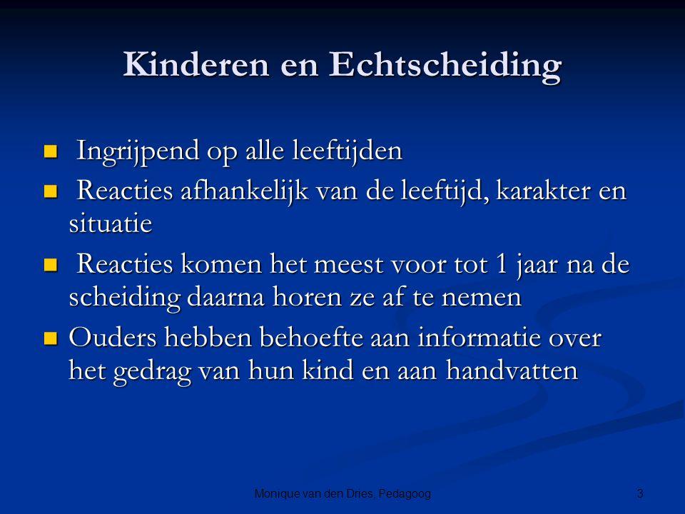 3Monique van den Dries, Pedagoog Kinderen en Echtscheiding Ingrijpend op alle leeftijden Ingrijpend op alle leeftijden Reacties afhankelijk van de lee