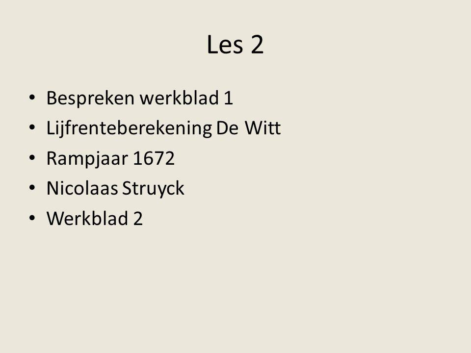 Lijfrenteberekening De Witt (1) Leeftijden Aantal halve jaren in de periode Kans op overlijden in de eerste periode ten opzichte van de volgende perioden Kans op overlijden voor ieder half jaar 3 tot en met 52,510011/128 53 tot en met 62,5202/32/384 63 tot en met 72,5201/21/256 73 tot en met 79,5141/31/384 154