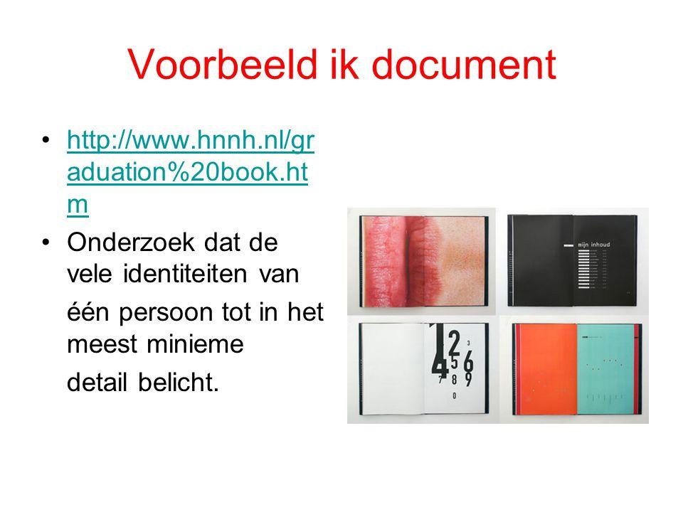 Voorbeeld ik document http://www.hnnh.nl/gr aduation%20book.ht mhttp://www.hnnh.nl/gr aduation%20book.ht m Onderzoek dat de vele identiteiten van één